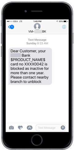 Bank SMS inactivity for more than a year